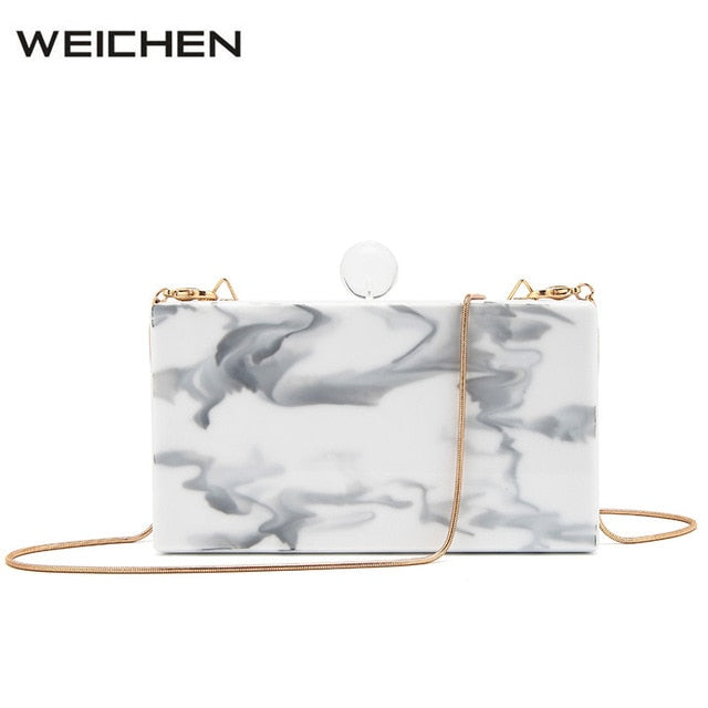 Fashion Shoulder Bag Female Marble Lines Acrylic Material Women Crossbody Flap Bags 2018 Newest White Women's Party Clutch Bag