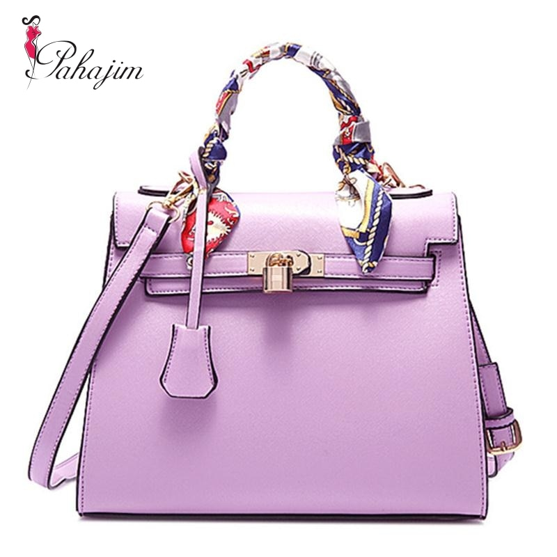 brand luxury handbags women bags designer handbag with scarf lock shoulder messenger bags 2018 fashion pink/blue tote bag