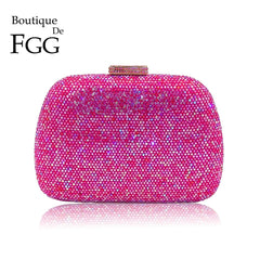 Boutique De FGG Dazzling Hot Pink Diamond Evening Bags Wedding Cocktail Prom Handbag and Purse Women Crystal Clutch Hand Bag