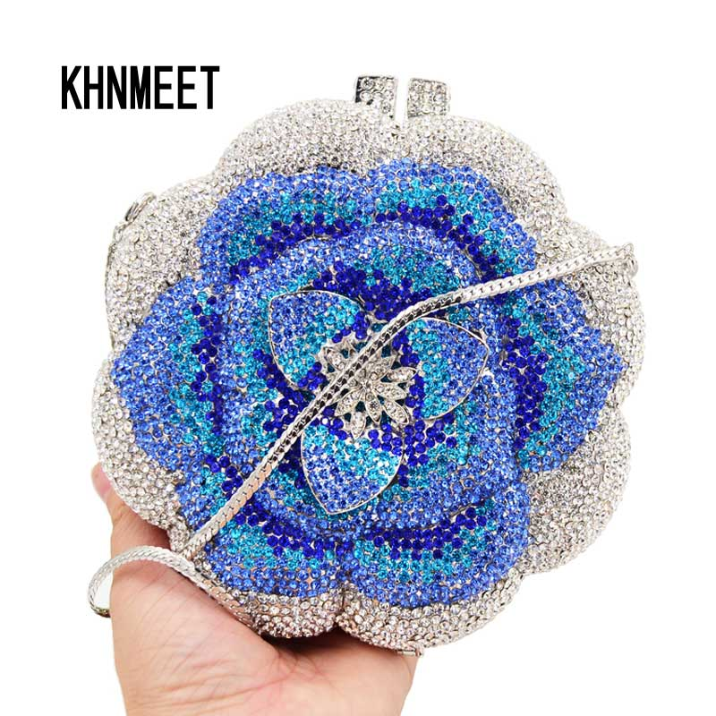 Designer Flower Blue Crystal Evening Bag Women Party Purse Customized Clutch Bags chain Mini Female handbags Day Clutches SC603
