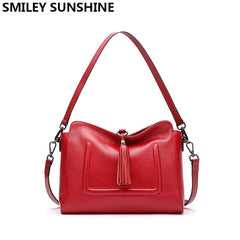 SMILEY SUNSHINE tassel hobos women bags genuine leather shoulder bags female crossbody bags ladies small leather handbags red