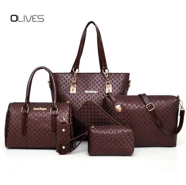 6 Sets Composite Bags Luxury Designer Women Leather Handbag Ladies Messenger Handbags Famous Brands Fashion Female Classic Bag