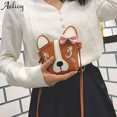 Aelicy 2018 Hot New Fashion High Quality Women GirCute Animal Bowknotl Leather Handbag Shoulder Cute Animal Bowknotl Leatherbag