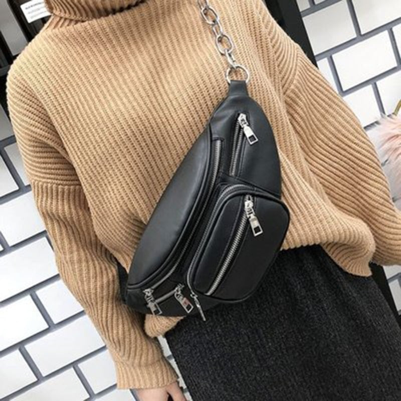 THINKTHENDO New Women Men Fanny Pack Purse Shoulder Chest Waist Bag Black Color Casual Chain Zipper Case Travel Faux LeatherBags