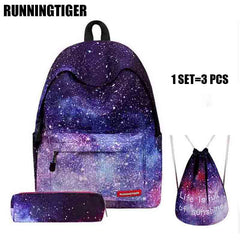 RUNNINGTIGER Backpack Women Universe Space School Backpack With Drawstring Bag & Pencil Case 3pcs Set Bag mochila feminina W505Z