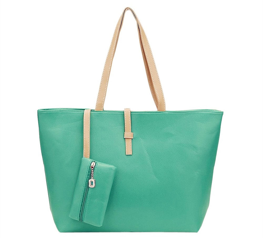 TEXU large summer women tote bag Green casual women Bag ladies leather handbags handbags of famous brands with purse