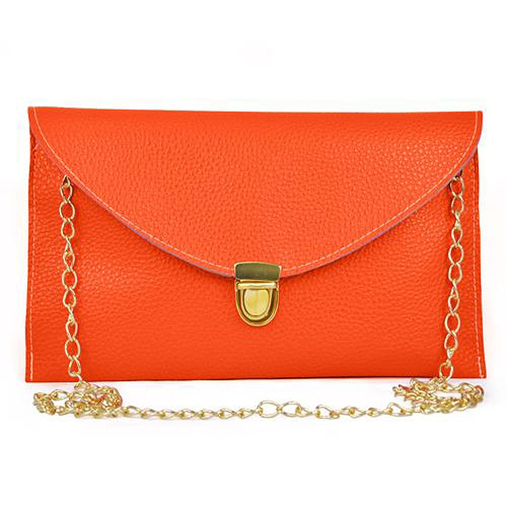 Women HandBag Envelope Clutch Chain Purse Lady Handbag Tote Shoulder Messenger - Orange