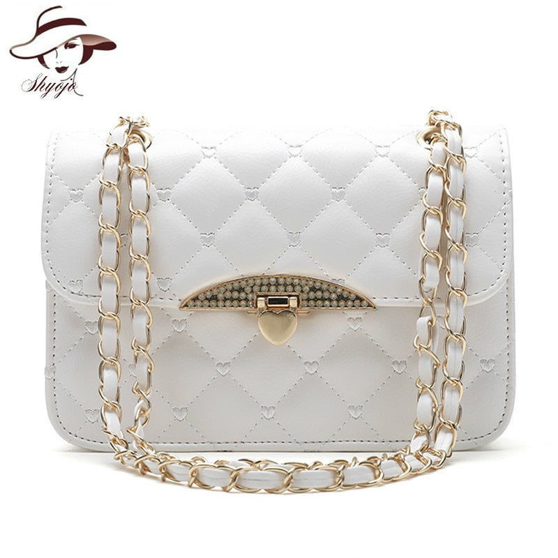New Fashion Women Messenger Bag PU Leather Girls Chain Shoulder Tote Solid Cute Fashion White Party Handbag Crossbody Bag Wallet