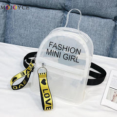 Mini Size Transparent Women Backpacks Clear PVC Teenager Girls Zipper Student School Backpack Travel Bag Mochila Feminina