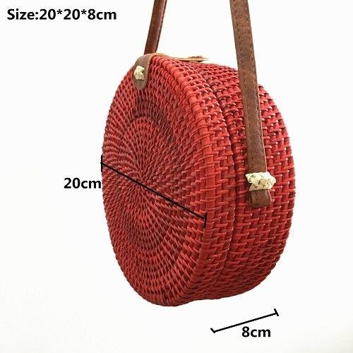 Rattan Bags Red Straw Round Handbags for Women 2018 Ladies Fashion Crossbody Bag Bohemian Beach Shoulder Bags