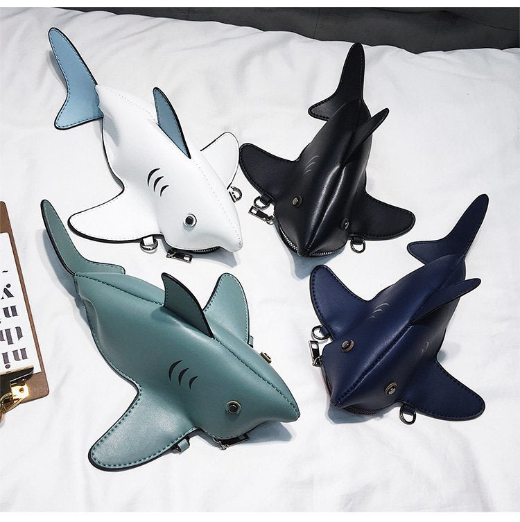 Girl Personality Cute Shark Design Pu Leather Casual Shoulder Bag Tote Crossbody Mini Messenger Bag Handbag Clutch Bag Purse