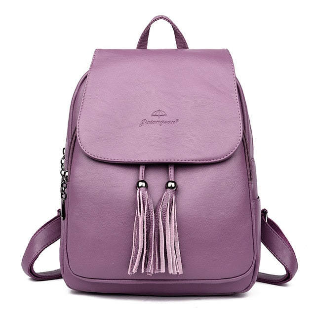 Fashion Tassel Women's Backpack Large Capacity School Bag for Girls Leather Shoulder Bag for Women 2018 Travel Backpack Female
