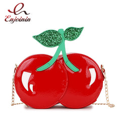 Fashion Cute Sequins Red Cherry Design Pu Leather Casual Chain Shoulder Bag Girl's Clutch Bag Handbag Mini Messenger Bag Flap