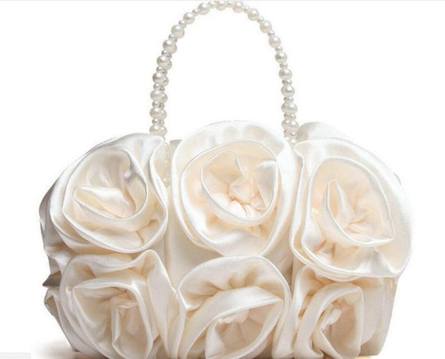 Boutique De FGG Red Flower Rose Bush Women Satin Evening Purse Beaded Handle Totes Bag Wedding Handbag Bridal Clutch