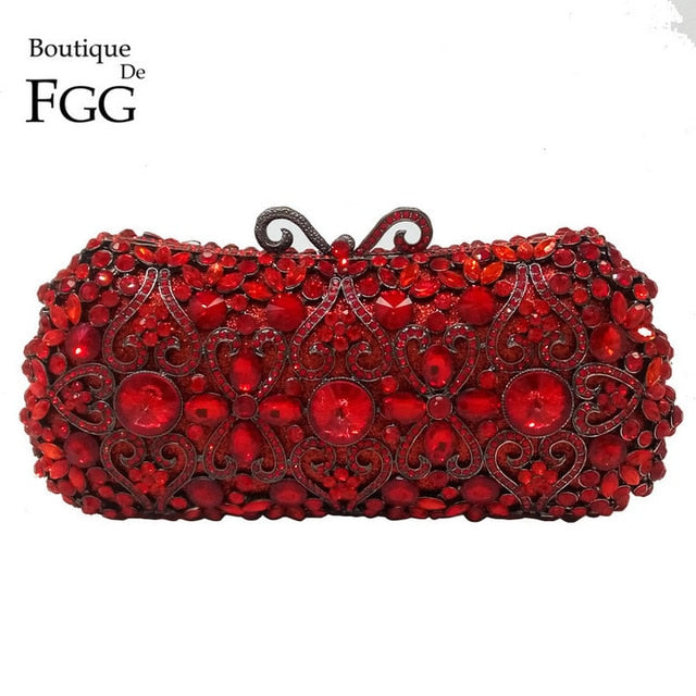 Boutique De FGG Red Ruby Crystal Diamond Women Metal Evening Clutches Bags Wedding Minaudiere Clutch Bridal Handbags Purses
