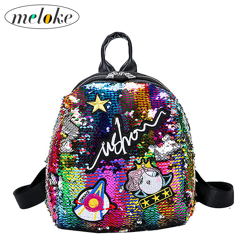 Meloke Mini Sequined Backpack with Cute embroidery backpacks for Women Girls Travelbag Bling Shiny Backpack School Backpack M163