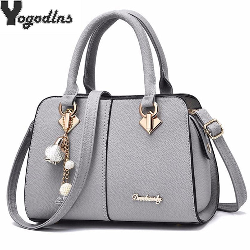 Women Hardware Ornaments Solid Totes Handbag