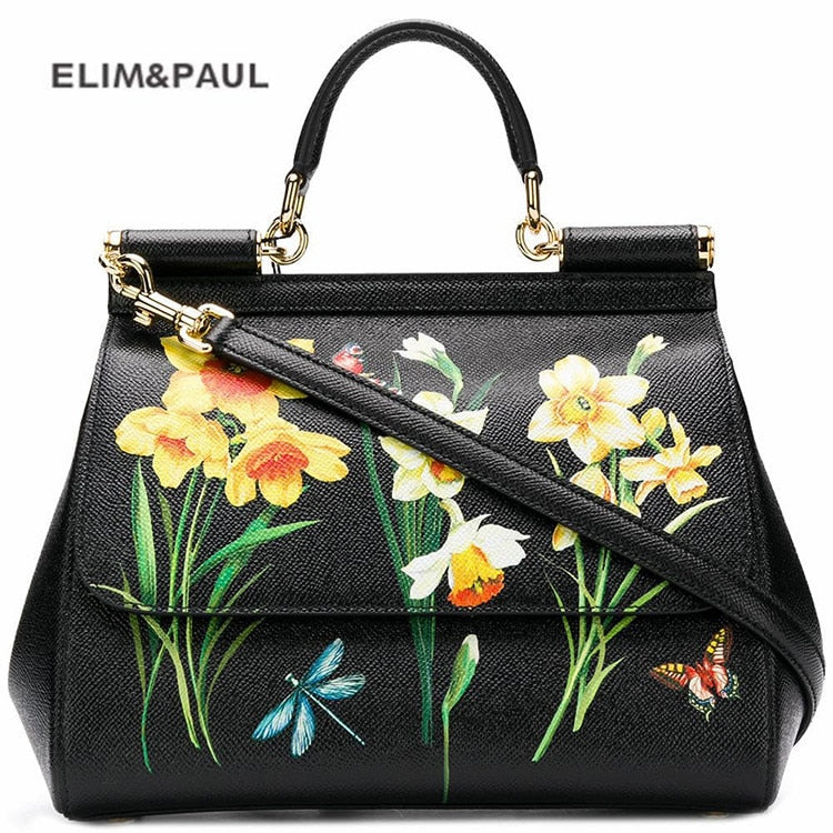 Luxury Brand Sicily Ethnic Flower Printed Genuine Leather Tote Bag Women Platinum Bags Handbag Purse Female Shoulder Bag/Handbag
