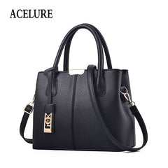 ACELURE Sequined Pendant Simple Style Shoulder Bags For Women Solid Color Soft Pu Leather Female Handbag All-Match Satchels