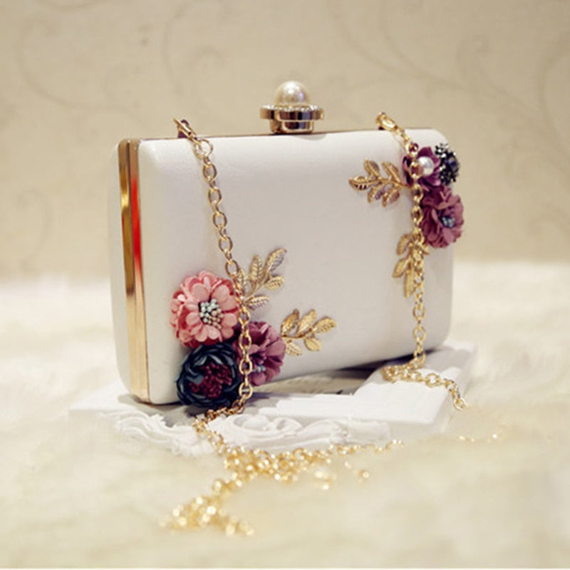 LJL Fashion Women Leather Evening Bag Dinner Party Lady Wedding Flower Clutch Purse(white)