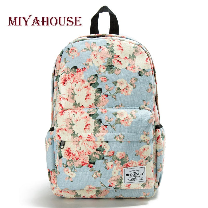 Miyahouse Classic Floral Printed Travel Backpack For Women Canvas School Backpack For Teenager Large Capacity Backpack Female