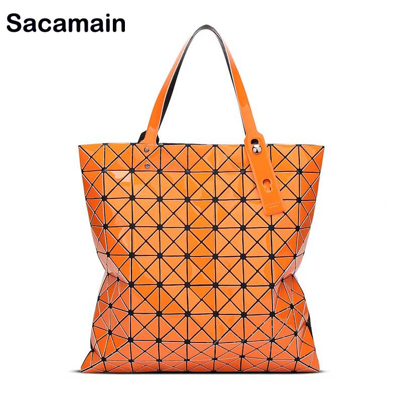 9*9 Famous Japan Bao Style Designer Women Bag Folding Diamond Lattice Tote Geometry Quilted Handbags Top-Handle Bags With Zipper
