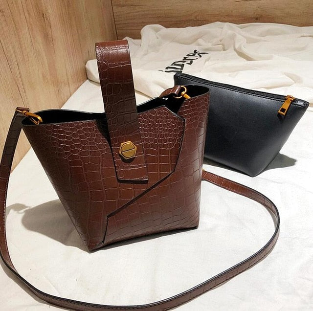 Vintage Fashion Female Tote bag 2018 New Quality PU Leather Women's Designer Handbag Alligator Bucket bag Shoulder Messenger Bag