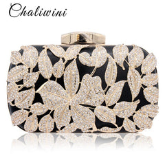 Metallic Leaf Gold Lady Clutch Bag Red Beaded Wedding Toiletry Package Party Purse Pochette Bag Crystal Messenger Evening Bags