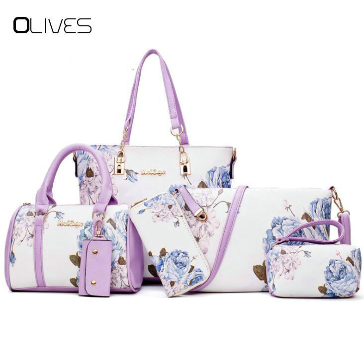 2018 New Women Handbag PU Leather Female Bags Fashion Shoulder Bag High Quality 6-Piece Set Designer Brand Bolsa Feminina