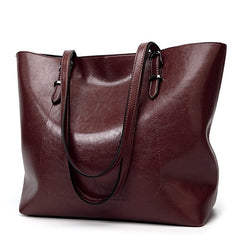 Hot Selling! Fashion Oil wax leather women's messenger crossbody bag  Large Tote women leather handbags female shoulder bag Red