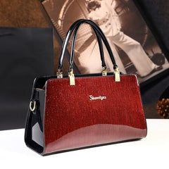 Fashion woman leather handbag designer top quality patent leather messenger bags handbags womem famous brands red wedding clutch