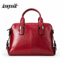 AEQUEEN Luxury Brand Women Cow Leather Handbag Genuine Leather Casual Tote Bags Female Big Shoulder Hand Bag Feminina Bolsa