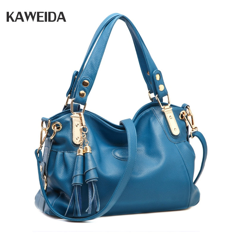 Women Genuine Leather Handbags Casual Brown Tote Bags Female Brand Designer Crossbody Messenger Bag TOP-handle Bag With Tassel