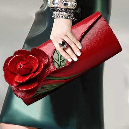 Fashion 3D Flower Genuine Leather Clutch Wallet Women Banquet Top Leather Modern Handbag Long Purse Party Shoulder Bags Gifts