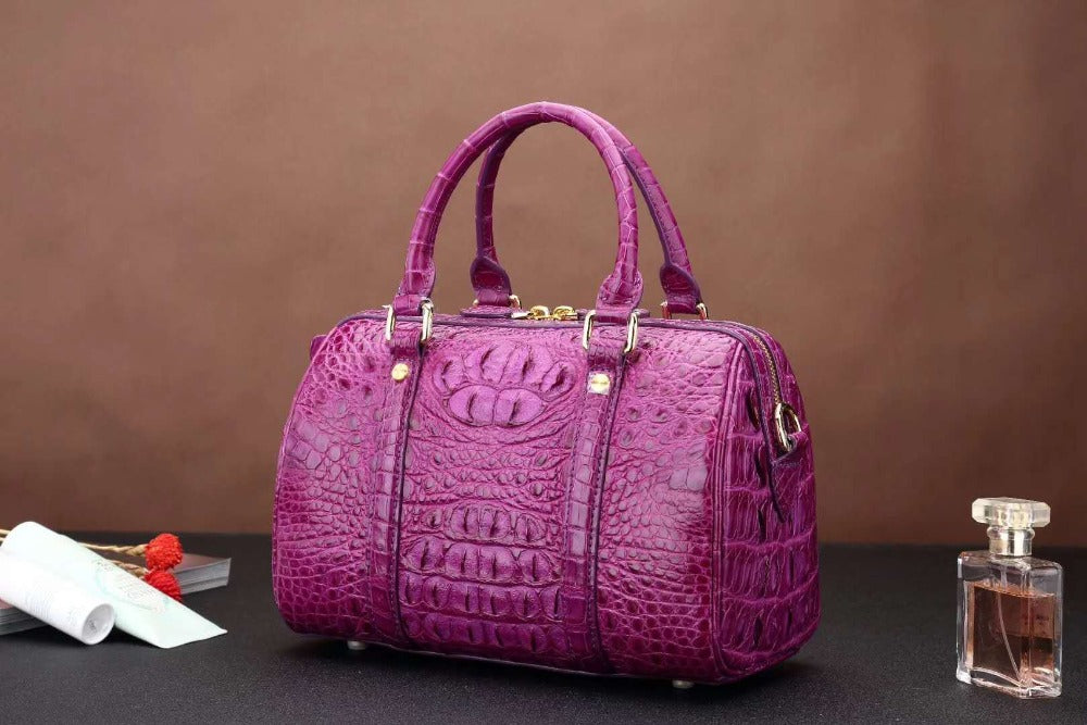 New production purple color 100% genuine crocodile skin leather women shoulder bag alligator head skin women tote cross body bag