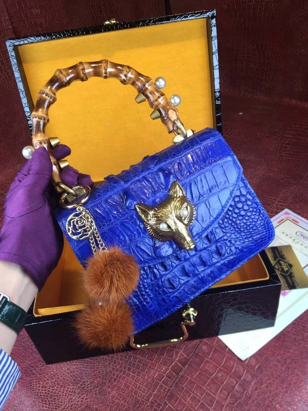 100% Crocodile Skin Small Size long metal chain lady Shoulder /Cross Body Bag alligator skin leather women bag purple blue color