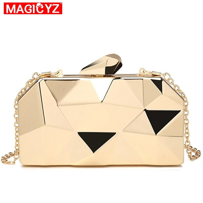 MAGICYZ Gold Acrylic Box Geometry Clutch Evening Bag Elegent Chain Women Handbag For Party Shoulder Bag For Wedding/Dating/Party