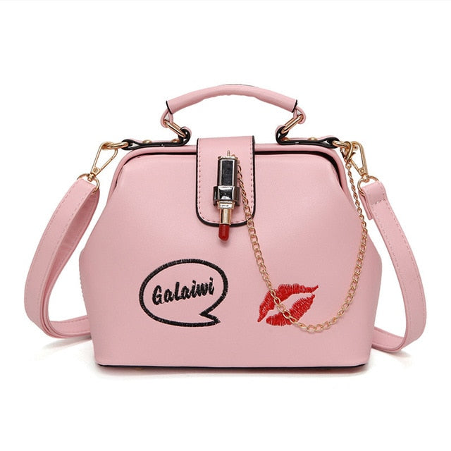 Women Handbag Leather Women Shoulder Bag Small Doctor Crossbody Handbag Embroideried Lipstick Chain Designer Casual Women Bags