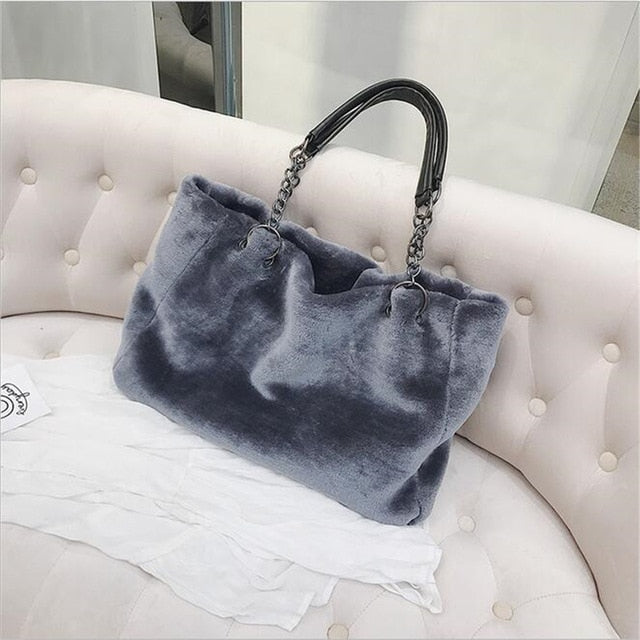 AEQUEEN Red Luxury Faux Fur Bags For Women Handbag Large Capacity Women Winter Shoulder Bag Females Tote Top-handle Feminine Bag