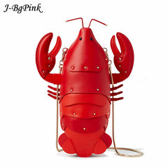 Fun Red Lobster Chain Crossbody Bag for Women Pu Leather Small Purse Pouch Ladies Cute Shoulder Bag Female Flap Messenger Bag