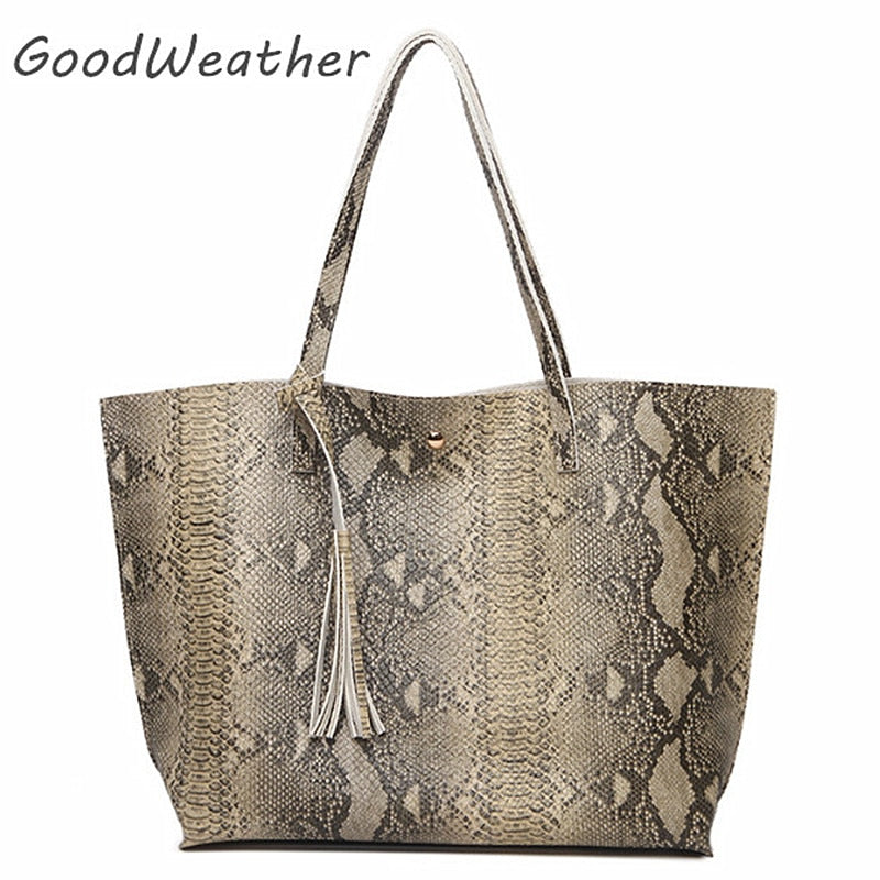 Designer tote bag leather handbag women snake pattern print big handbags fringe fashion large capacity totes bags for woman
