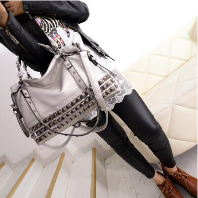 Rivet Women's PU Leather Handbag New 2019 Fashion Silver/Black Cowhide Women Messenger Bags One Shoulder Handbag Big Bags Z474