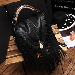BENVICHED 2019 new tassel bag handbag simple cool red single shoulder bag fashion women Satchel Bag c114