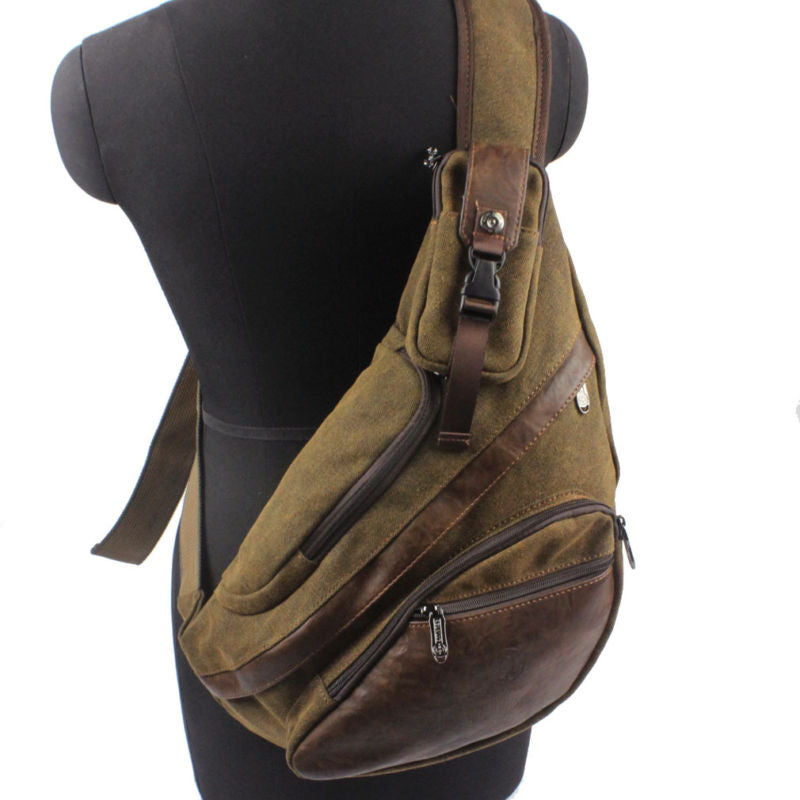 Men's Canvas Sling Chest Casual Bag Cross Body Messenger Shoulder Bag Travel Motorcycle Riding Hiking Pouch
