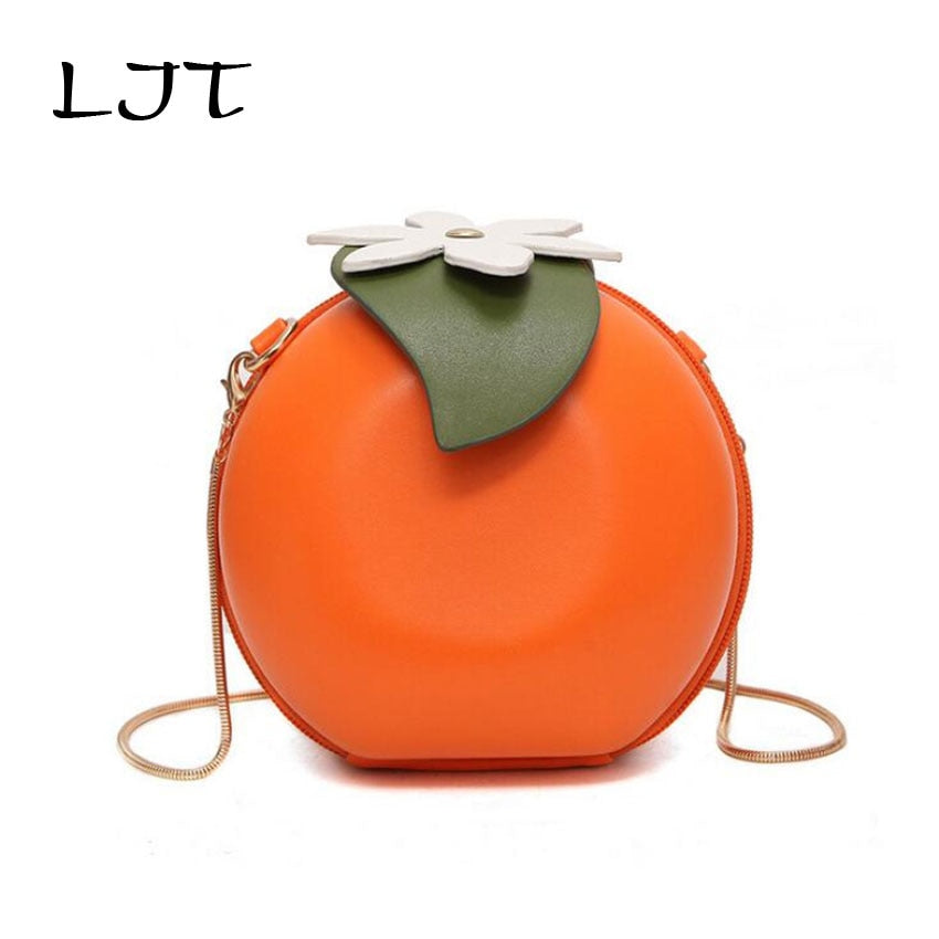 LJT 2019 New Fashion Personality Circular Orange Bag Small Round Mini Chain Shoulder Messenger Bag Girl Cute Crossbody Party Bag