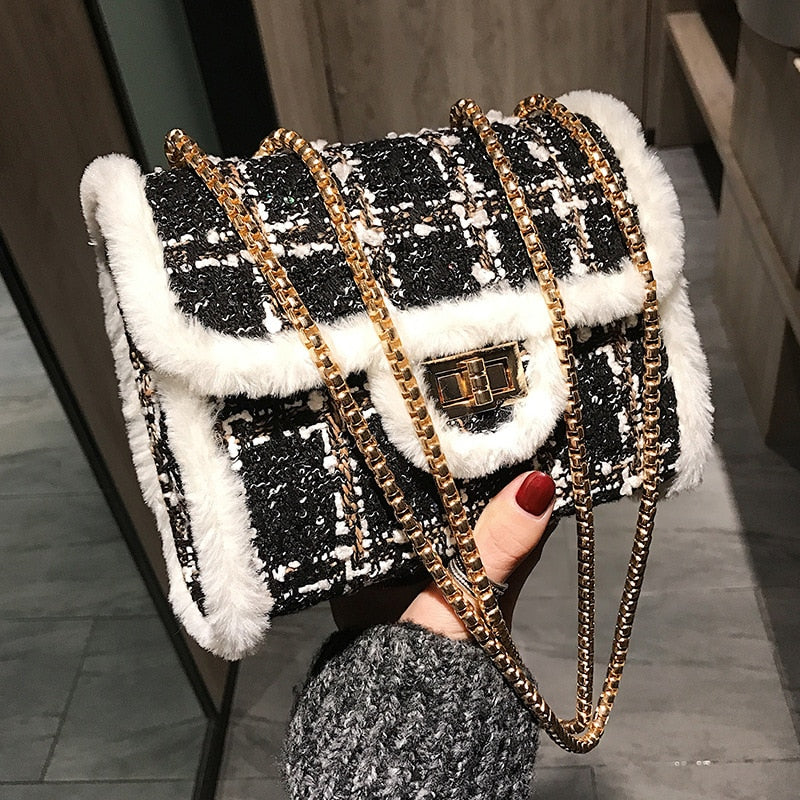 FEMALEE Fur Border Crossbody Bags For Women 2018 Winter Tweed Wool Bags Designer Satchels Chains Female Channels Messenger Bags