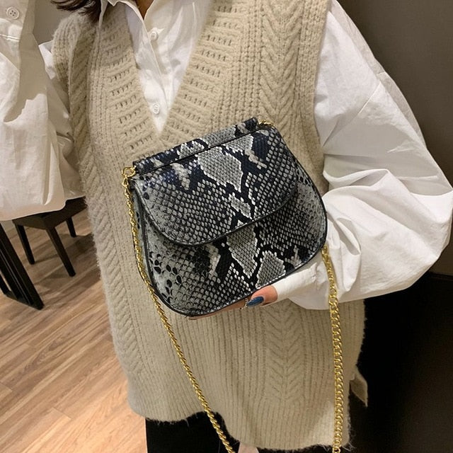 Crossbody Bag For Women Fashion Snake Skin PU Leather Shoulder Bags Female Chain Messenger Bag Women Handbag Party Day Clutches