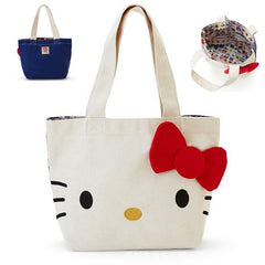 hello kitty casual Top handle bags with Bow Handbag with cat pattern Front white, reverse blue