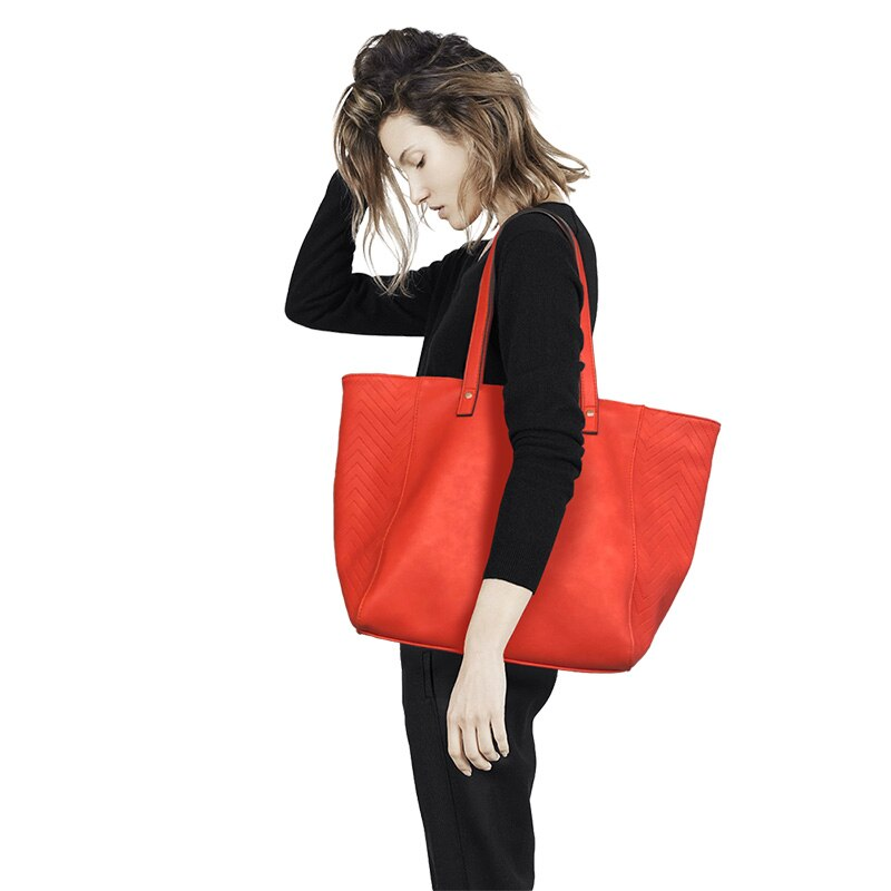 E.SHUNFA brand new arrival female shoulder bag big solid color shopping bag fashion women handbag red orange blue