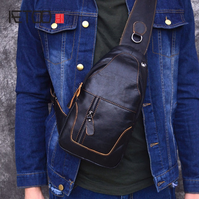 AETOO Male Bags Genuine Leather Shoulder Messenger Bag Men Sling Chest Pack Crossbody Bags for Men Belt Chest Bag Leather